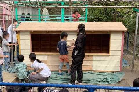 さいたま市のひばり幼稚園に木製遊具を納品してきました
