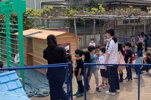 ひばり幼稚園 木製遊具 列