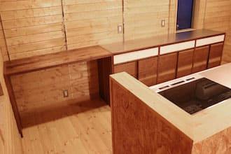 ウォルナットのオーダー食器棚(カップボード)