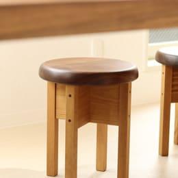 ウォルナットとナラの丸椅子